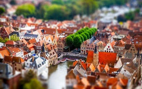 tilt shift, Bruges, city, cityscape, Belgium, architecture