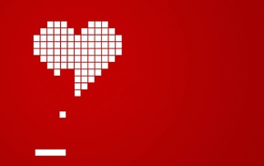 Brick, hearts, Arkanoid, red background