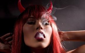 smoking, redhead