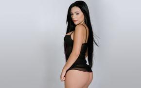 ass, model, Andrea Pineda, brunette, gray background