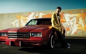 Aaron Paul, graffiti, Breaking Bad, Jesse Pinkman, red cars