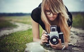 camera, girl, blonde