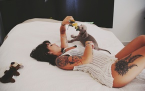 baby animals, girl, puppies, in bed, model, tattoo