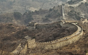 nature, Tourism, landscape, Great Wall of China, trees, tower