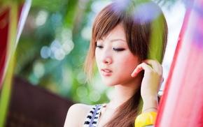 model, Asian, hand, looking down, face, Mikako Zhang Kaijie