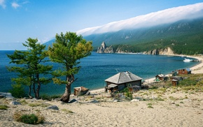 water, mist, landscape, Lake Baikal, lake, house