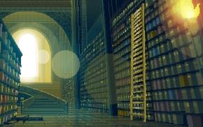 pixel art, pixels, library, ladders