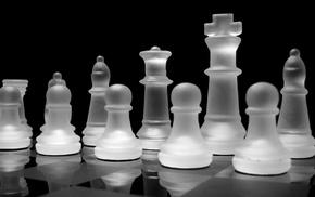 reflection, black, white, board games, black background, checkered