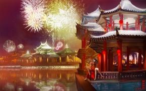 Mahou Shoujo Madoka Magica, fireworks, night, Kaname Madoka, traditional clothing, Akemi Homura