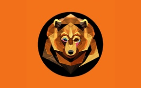orange background, geometry, bears, digital art, low poly, animals