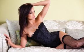 lingerie, black lingerie, Melissa Riso, girl, stockings, brunette