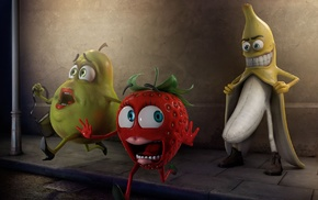 undressing, humor, strawberries, exhibitionism, bananas