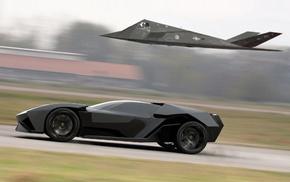 F, 117 Nighthawk, Lamborghini Ankonian Concept, stealth, car, Lamborghini