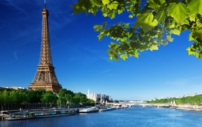 river, Paris, boat, Eiffel Tower