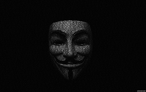 Guy Fawkes, typographic portraits, Anonymous, black