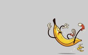 humor, bananas, minimalism, simple background, danger