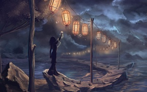 fantasy art, sea, clouds, lights, lantern, dark