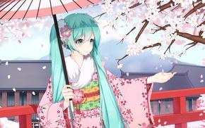 Vocaloid, Hatsune Miku, cherry blossom, anime girls, long hair