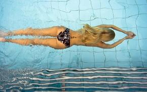 water, black bikinis, bikini, swimming, ass, blonde
