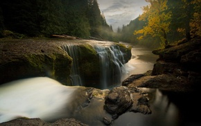 water, waterfall, long exposure, trees, nature, Washington state