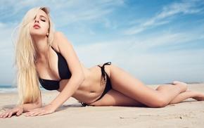 legs, boobs, closed eyes, beach, girl, sand