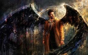 drawing, artwork, painting, Castiel, Supernatural, wings