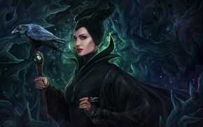 thorns, drawing, Maleficent, Disney, crow, artwork