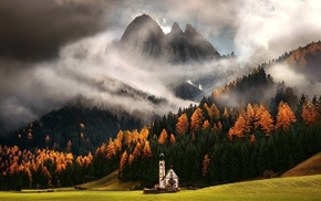 fall, mountain, forest, Italy, landscape, nature