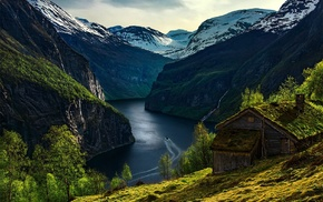 river, cabin, landscape, Norway, nature