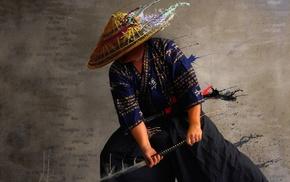 artwork, photo manipulation, men, Japanese clothes, samurai, katana
