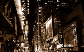 night, sepia, street, signs, architecture, theater