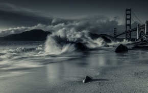 monochrome, sand, long exposure, architecture, USA, beach