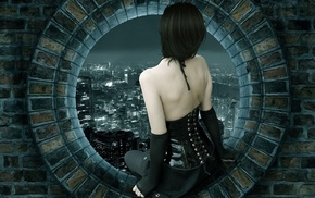 window, bricks, gloves, skirt, corsets, digital art