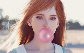 artwork, bubble gum, girl