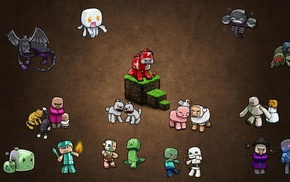 brown background, zombies, creeper, video games, PC gaming, skeleton