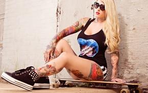 legs, long hair, skateboard, girl, sunglasses, shorts