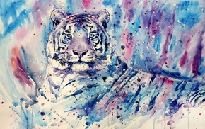 white tigers, purple, painting, blue, tiger, animals