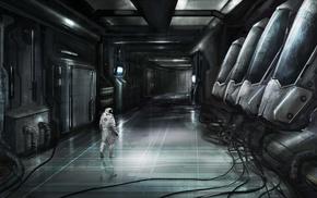 artwork, wires, futuristic, digital art, spacesuit