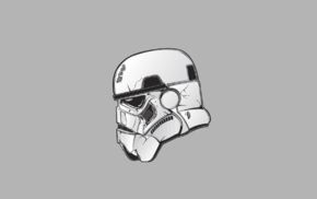 Star Wars, simple background, stormtrooper, helmet, gray background