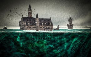 architecture, castle, flood, bubbles, tower, underwater