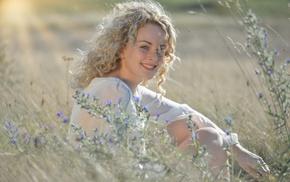 sunlight, long hair, girl outdoors, face, smiling, field