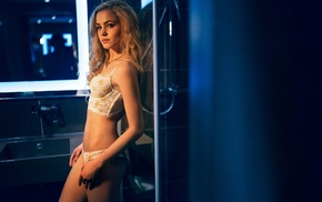 Alena Emelyanova, girl, panties, model, blonde, tattoo
