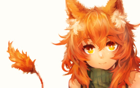orange hair, anime, orange eyes, fox girl