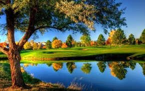 nature, colorful, fall, reflection, trees, landscape