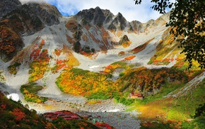 landscape, rock, leaves, China, grass, valley