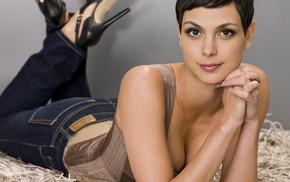 short hair, brunette, Morena Baccarin, high heels, lying on front, makeup