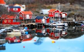 Sweden, lake, house, dock, tilt shift, reflection
