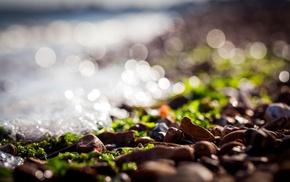 nature, sea, bokeh, depth of field, rock, sunlight