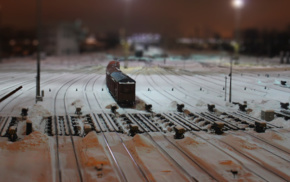 rail yard, railway, tilt shift, train, snow