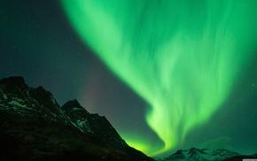 aurorae, nature, landscape, sky, stars, mountain